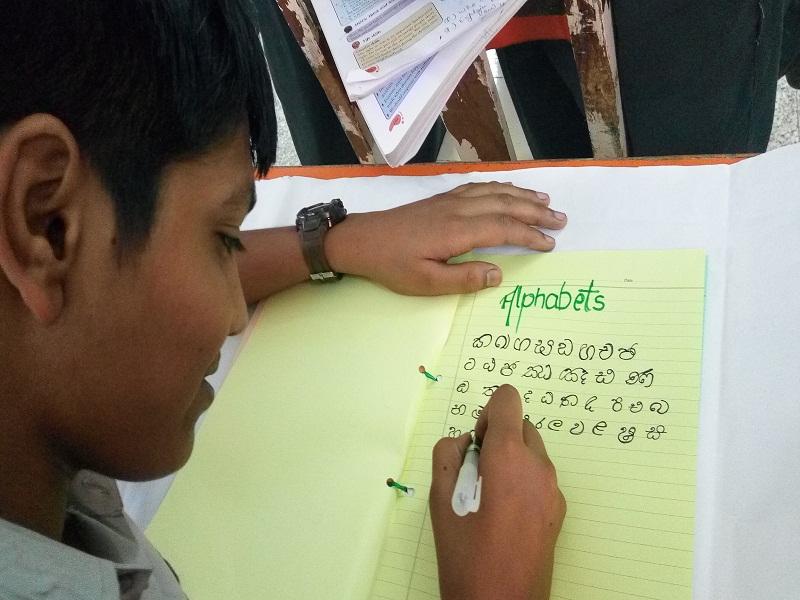 Choithram School – Sri Lanka-Writing the Alphabet