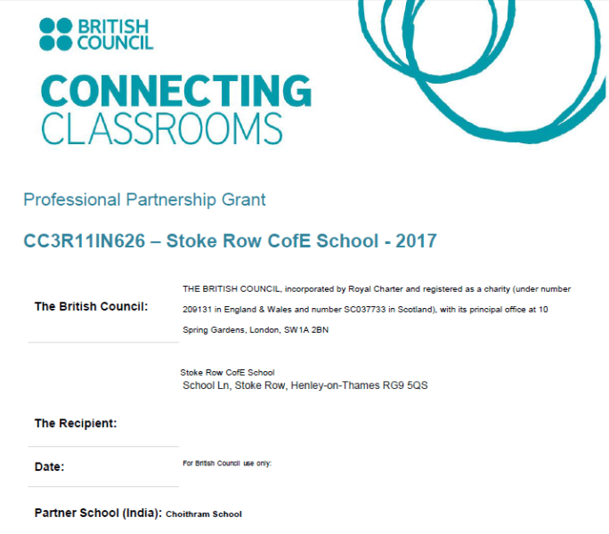 Grants Application Filled by UK Partner School and Choithram School Approved by the British Council, UK